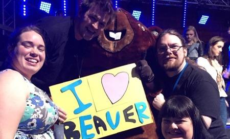 Alison, Ben, Ewan and Sharleen meeting the Riga Beaver after the final of Supernova