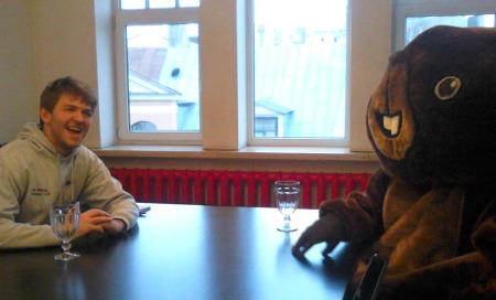 Ben Robertson interviewing the Riga Beaver  (Photo: Dace Grande)