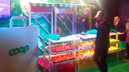 Supermarket Coop with their stall surrounding the seats in Friends Arena (Photo: Alison Wren)