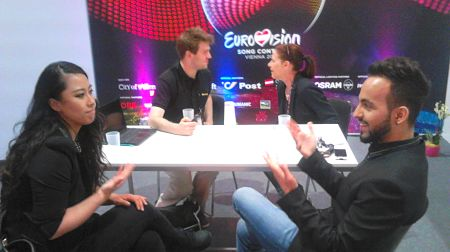 Meeting Eva, Delil and Alice all together in the Eurovision Press Centre